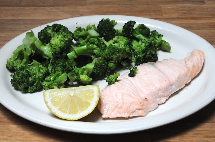 Poached Salmon with Broccoli