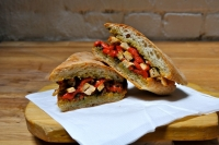 Grilled Chicken, Roast Peppers & Pesto Sauce