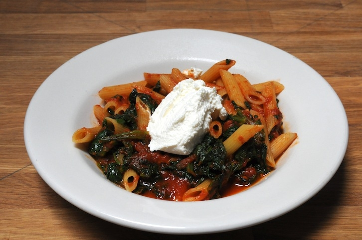 Penne with Spinach, Ricotta Cheese in Tomato Basil