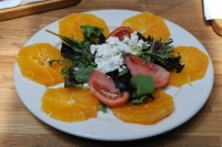 Orange, Goat Cheese, Tomato over Organic Greens