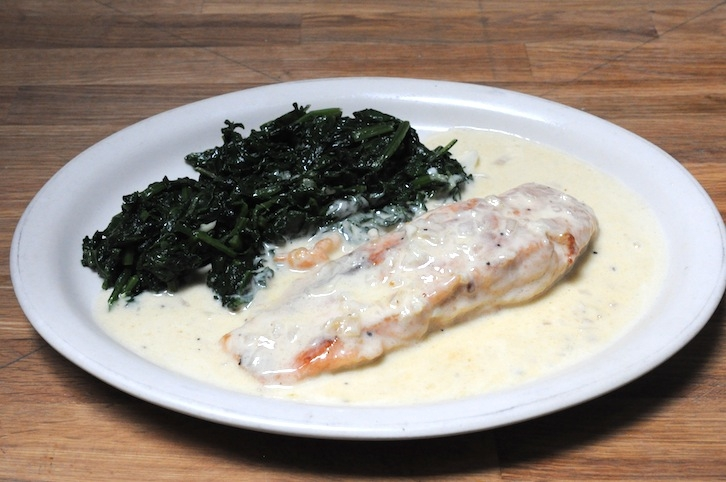 Salmon in Champagne Sauce with Spinach